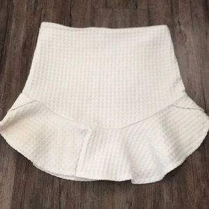 Zara white ruffle mini skirt